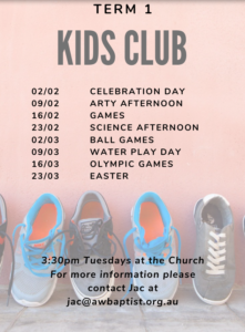 Kids Club is a free program run every Tuesday afternoon during the school term. This is for all kids ranging from Prep - Grade 6, and runs from 3:30pm - 5pm. During Kids Club we do a range of activities, eat, listen to a story and have loads of FUN!